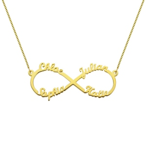 Custom 18K Gold Plated Infinity Necklace 4 Names