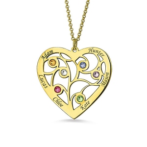 Gold Plated Silver Heart Family Tree Necklace Engraved with Name& Birthstones