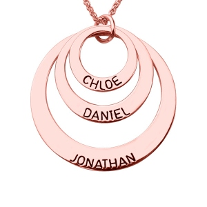 Engraved Three Disc Necklace for Mothers in Rose Gold