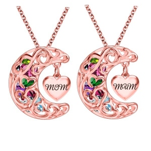 To The Moon And Back Cage MOM(MUM) Necklace In Rose Gold